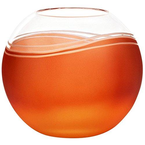 CRISTALICA Kugelvase Vase Blumenvase Elements Orange Rot D 15 cm Kristallglas Tischvase Tischdeko Hochzeitdeko