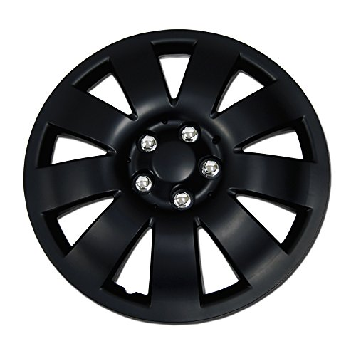 TuningPros WC-17-721-B 17-Inches Pop On Type Improved Hubcaps Wheel Skin Cover Matte Black Set of 4