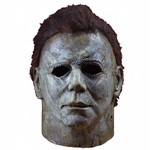DDRBEVGHFdbvcd34bvvs0918d Halloween Horror Michael Myers máscara Cosplay látex Cara Casco Cara Completa Halloween Party Scary Props Juguete decoración del hogar Accesorios, 2