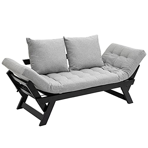 HOMCOM Single Person 3 Position Convertible Chaise Lounger Sofa Bed with 2 Large Pillows and Oak Frame, Light Grey