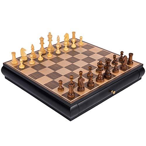SOAR Tablero de ajedrez Conjunto De Ajedrez Estándar, con Juego De Tablero De Juego De Ajedrez del Cajón, Regalo para Amantes del Ajedrez Internacional/Principiante Y Aprendices