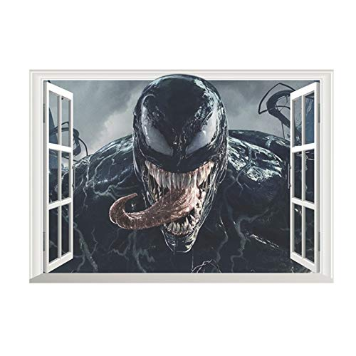 3D Movie Venom Super Hero Window Wall Stickers Bedroom Home Decorations 50 * 70Cm Wall Decals Through Mural Art Pvc Posters 50 * 70Cm