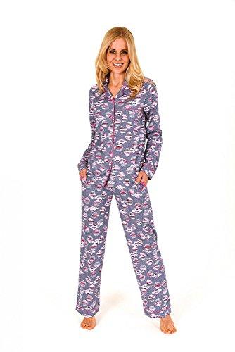 Normann Damen Pyjama lang mit Cupcake-Alloverdruck und durchknöpfbar 261 201 90 104, Größe:44/46;Farbe:grau-Melange