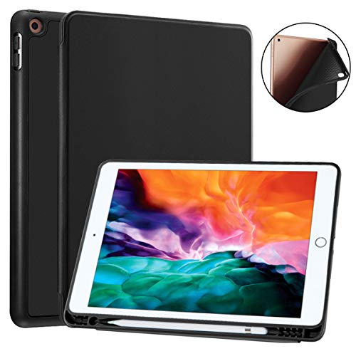 SIWENGDE Compatible for Apple iPad 9.7 Case 2018 iPad 6th Generation Cases/2017 iPad 5th Generation Case with Pencil Holder,Slim Soft Silicone Smart Trifold Stand Protective Cover (Black)