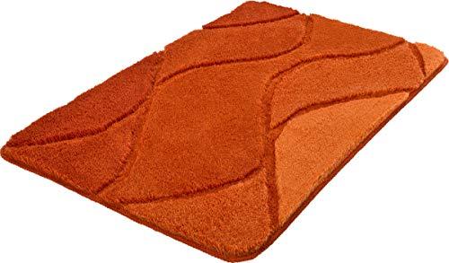 Kleine Wolke Fiona Chili - Alfombrilla de baño (80 x 140 cm), Color Terracota y Naranja