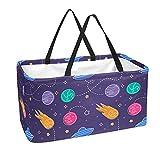Bolsa de comestibles reutilizable grande, resistente bolsa de compras con parte inferior reforzada y asa (dibujos animados para niños juegan ovni planetas)