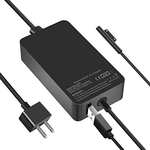 Surface Pro Charger, FVW 65W Microsoft Surface Power Adapter Charger for Surface Pro 3/4/5/6/7, Surface Go 2/1, Microsoft Surface Book, Laptop & Tablet, Replacement AC Adapter 15V-4.0A with USB Port