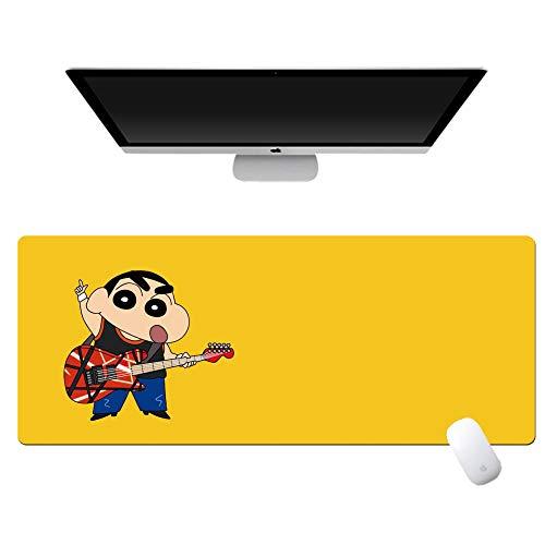 yinying Alfombrilla de ratón de Anime,Crayon Shin-Chan Anime Alfombrilla de ratón Teclado de computadora Escritorio-Guitarra Amarilla_800x300mm_3 mm