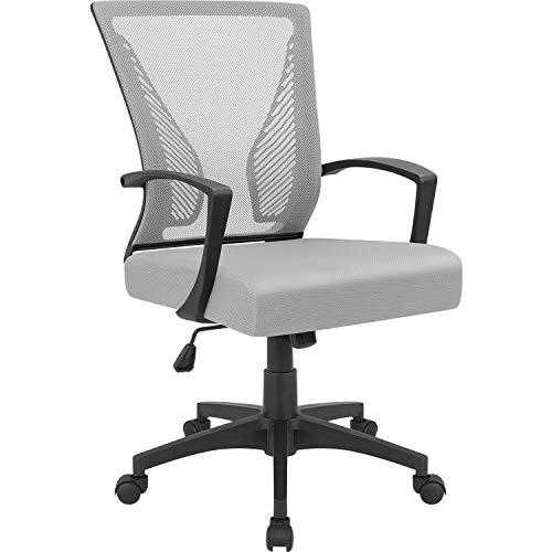 Furmax Office Mid Back Swivel Lumbar Support Desk, Computer Ergonomic Mesh Chair with Armrest (Gray)