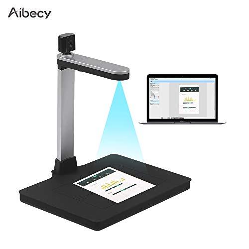 Aibecy HD Dokumentenkamera Scanner 10 Megapixel mit AI-Technologie mit Zwei Kameras Unterstützung für das Ausfüllen von Licht PDF-Export für Videoaufzeichnungen Scannen im A4-Format für Windows