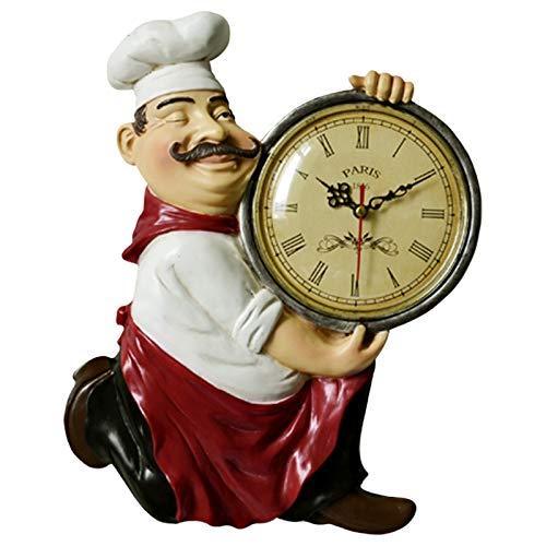 NECZXW1 Reloj de Pared de Chef Gordo, Reloj de Pared Decorativo sin Escala, Reloj de Pared Antiguo, Reloj Italiano no Marca hogar, Cocina, Restaurante, Bar