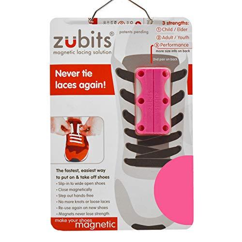 """Zubits, magnetischer Schuh-Verschluss, geschlechtsneutral, """"Nie wieder Schnürsenkelbinden"""", Größen 1, 2und 3,in 12verschiedenen Farben, 2.0, Pink - rose - Größe: L/Erwachsene"""