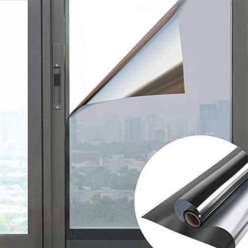 All--In Spiegelfolie Selbstklebend Sichtschutz Folie für Fenster Blickdichte Sonnenschutzfolie 99% UV Schutz Wärmeisolierung Fensterfolie Schwarz, 60 x 200cm