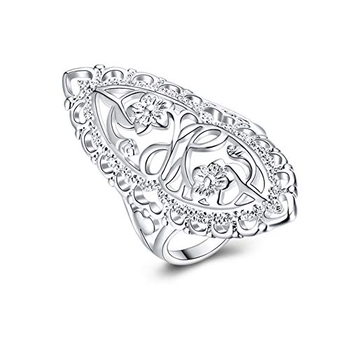 XCFS 925 Sterling Silver Statement Ring Vintage Hollow Long Celtic Knot Daisy Flower Floral Filigree Band Rings (9)