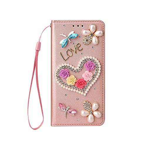 Funda con tapa para iPhone 11 Pro 12 Mini X XR XS Max 7 8 Plus 6 6S se 2020 Handmade Wallet Bling Cover Shell-Gold-for for iPhone 7 8