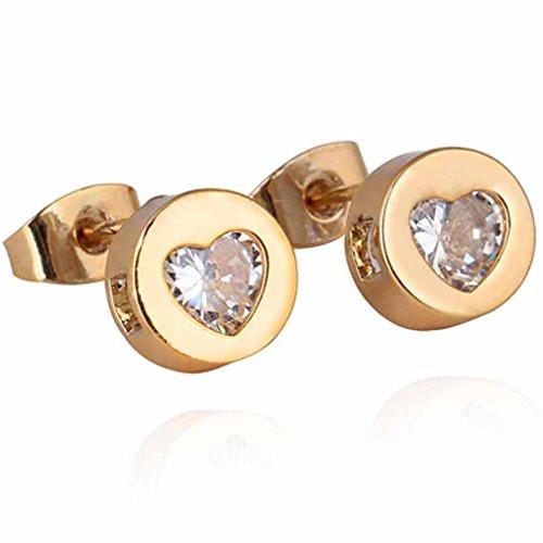 Yazilind elegante 14K Gold Filled embutido cúbico del diseño del corazón de los pendientes del perno prisionero del Circonita para Pequeñas Idea regalo de las mujeres