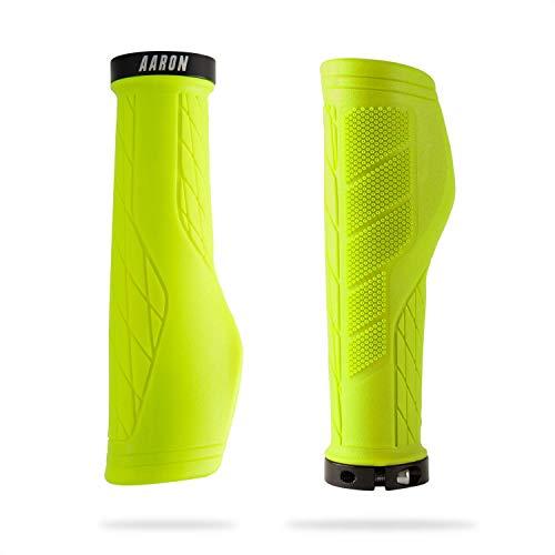 AARON FIT - Puños para manillar de bicicleta con amortiguación de gel para bicicleta eléctrica, bicicleta de trekking, bicicleta de montaña, crossbike, Fixie etc. Amarillo