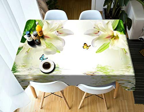 Mantel de poliéster para mesa de comedor, diseño de lirio y mariposa, resistente al polvo, lavable, antimanchas, para comedor, fiesta, Navidad, 152 x 228 cm, color blanco y verde