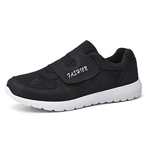 Leader Show Men's Casual Comfort Walking Shoes Ultralight Flats Non-Slip Hook & Loop Fashion Sneakers (10.5, Black)