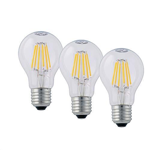 Hellum LED Lampe, LED Filament dimmbar, E27 Sockel, Warmweiß 2700 K, 7 W, klar, 3er-Pack, 206517