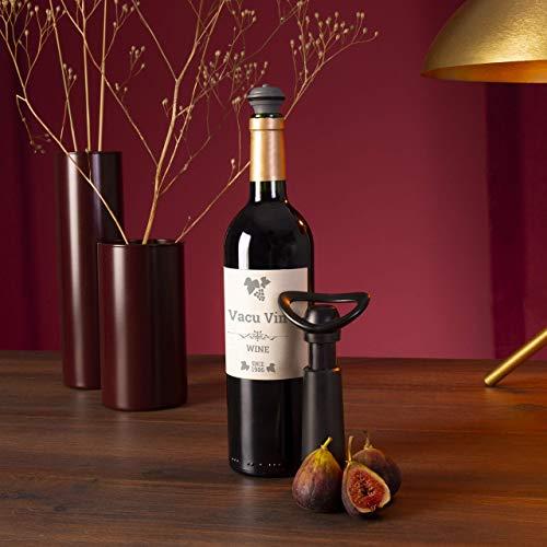 Vacu Vin Weinpumpe Concerto mit 3 Stopfen, Kunststoff, schwarz, Einheitlich