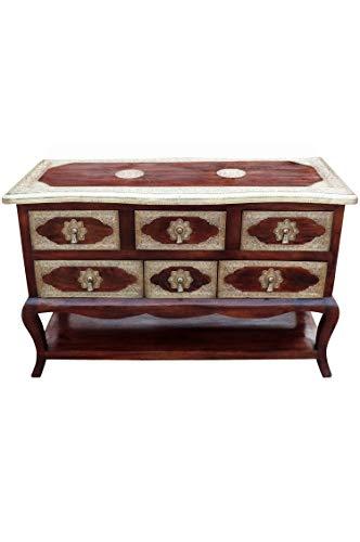 Oosterse commode sideboard Joynab 120cm bruin goud | Orient vintage commodekast oosters met de hand versierd | Indiase landhuis dressoir van hout | Aziatische meubels uit India
