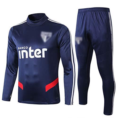 BVNGH Sao Paulo - Traje de entrenamiento de camiseta de fútbol de manga larga de 2021, conjunto de ropa deportiva, transpirable y cómoda sudadera (S-XXL), color azul real-M