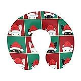 Tablero de ajedrez de conejo, gato blanco y negro, Navidad, rojo, verde, fondo, en forma de U, espuma viscoelástica, almohada de viaje para el cuello, almohada de apoyo para el cuello, para avión, coc