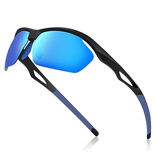 Avoalre Fahrradbrille Sportbrille Winddicht Fahrrad Sonnenbrille Anti UV400 fahradbrille Herren Sonnenbrille Polarisierte Brille Angeln mit Rahmen TR90 Super Light(Blau)