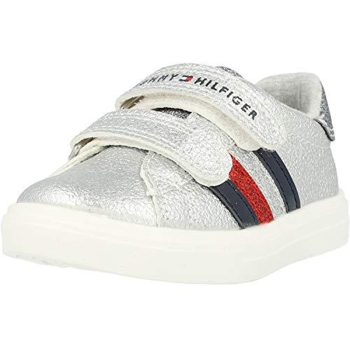 Tommy Hilfiger Trainer Plateado Eco Cuero Infantil Zapatillas De Deporte Zapatos