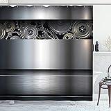 ABAKUHAUS Industrial Cortina de Baño, Reloj Ciencia Moderna, Material Resistente al Agua Durable Estampa Digital, 175 x 200 cm, Gris