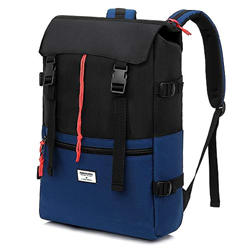 KINGSLONG Roll Top Laptop Backpack 15.6 inch Travel Rucksack Backpack for Women and Men Hiking Daypack Outdoor Backpack Drawstring Rucksack for Teens College Student Laptop Bag Blue