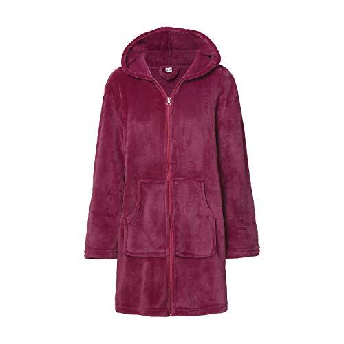 Montse Interiors Bata o Albornoz Mujer Coralina Tacto Seda o Visón Homewear con Capucha (Bata Coral Púrpura, L/XL)