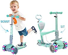 5 in 1 Kids Kick Scooter, 3 Wheels Walker with Removable Seat and Back Rest, 4 Adjustable Height, Light Up Wheels for Toddlers 3-6 Years Old Support 50 kg