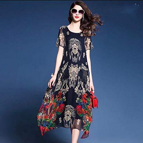 MEIZIZI Eleganter Blumendruck Lange Kleider Damen Kurzarm Seidenchiffon Kleid Sommer Lose Oansatz Kleidung, Schwarz, M