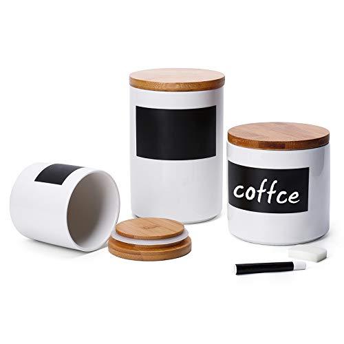 Sweese 804.101 Vorratsdosen Keramik mit Bambusdeckel, Memo für Kreidebeschriftung, 3er Set