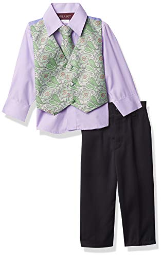 Milano Couture Boys' 4 Piece Vest Suit Set, Green, Small/6m