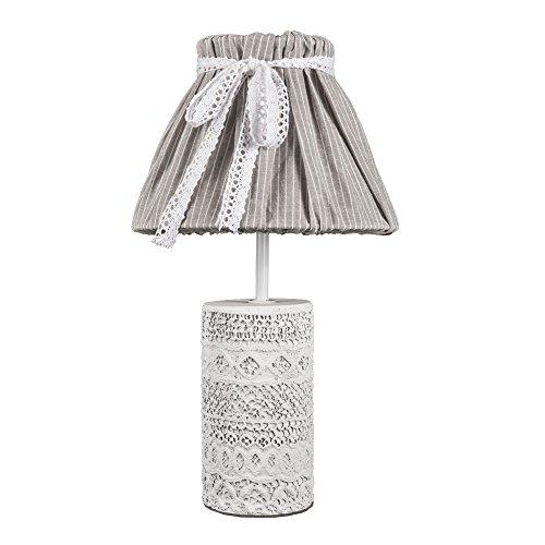 Tischlampe VINTAGE CHIC weiß grau mit verziertem Betonfuß shabby chic E14