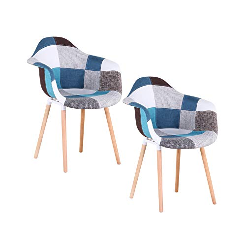 Uderkiny 2er-Set Patchwork Stuhl mit Armlehnen, geeignet für Kuche Wohnzimmer Esszimmer Schlafzimmer usw (Blau)