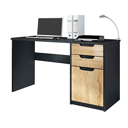 Vladon Escritorio Mesa para computadora Mueble de Oficina Logan, Cuerpo en Negro Mate/frentes en Roble Natural