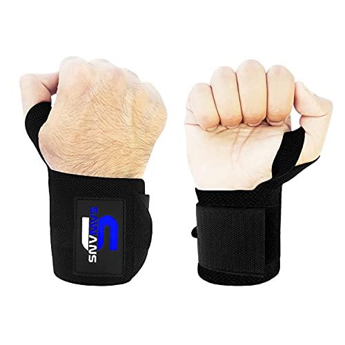 SAWANS Handgelenkbandagen für Gewichtheben, Unterstützung für Bodybuilding, Fitness, Fitnessstudio, für Männer und Frauen, Powerlifting, kräftige, robuste Daumengriff-Bandage (schwarz)