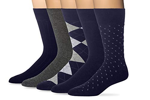 KM Legend Men's Dress Socks, Assorted 5 Pair Pack, Navy, Shoe Size:...