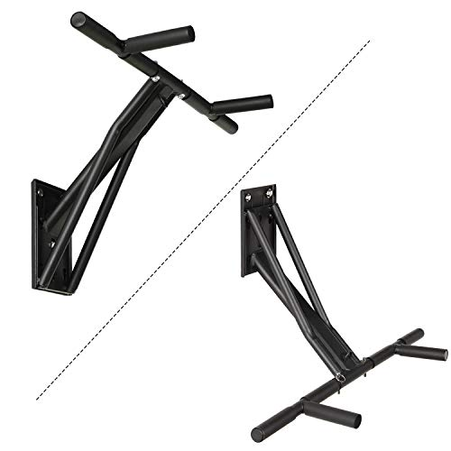Kicode Pull Up Bar, 2 in 1 Freely Convertible Multifunctional Pull Up Bar and Dip Bar Exercise Equipment, Wall, Tree, Or Post Mounted Workout Bar, with 2 Mounted Adapters for Indoor & Outdoor