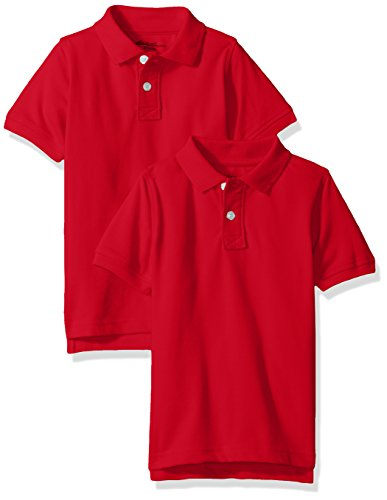 Eddie Bauer Boys' 2 Pack Polo Shirt (More Styles Available), Bright Engine Red, 8
