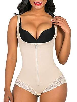SHAPERX Women Shapewear tummy control Fajas Colombianas Body Shaper Zipper Open Bust Bodysuit, SZ7200-Beige-2XL