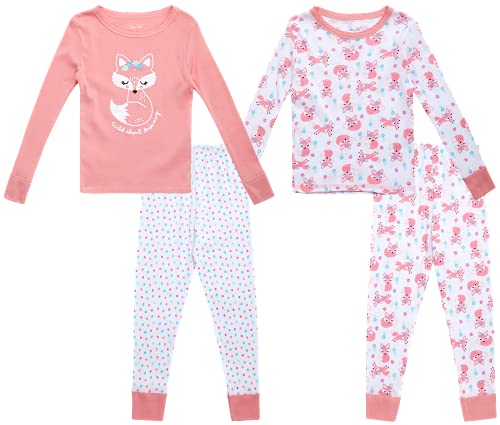 Rene Rofe Baby Girls' Pajama Set - 4 Piece Long Sleeve T-Shirt and Jogger Bottoms, Size 2T, Wild About Dreaming