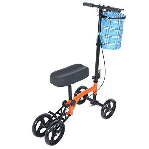 Haofy Patinete de Rodilla orientable Muletas para Andador de Rodilla Alternativa, Patinete de Movilidad Plegable para Rodillas con Cesta y Frenos para Lesiones en los pies