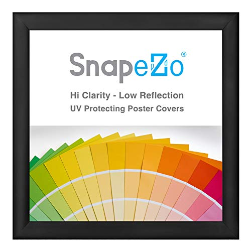SnapeZo Poster Frame 25x25 Inches, Black 1.2 Inch Aluminum Profile, Front-Loading Snap Frame, Wall Mounting, Premium Series