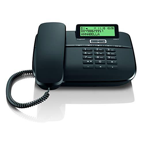 Gigaset DA611 Komfort-Telefon - klassisches Schnurtelefon mit Anrufanzeige, Direktruf und Freisprechfunktion - hörgerätekompatibel, schwarz