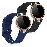 kwmobile Pulsera Compatible con Garmin Lily - 2X Correa de TPU para Reloj Inteligente - Negro/Azul Oscuro